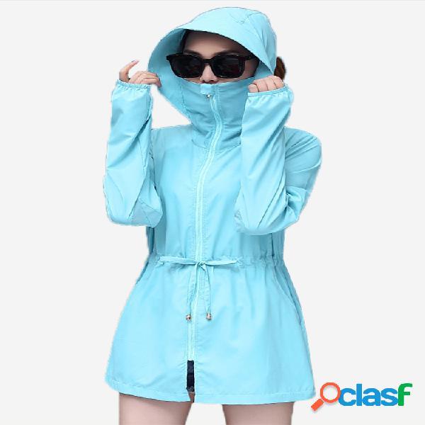 Roupas de proteção solar uv proteção beachwear casaco fino de mangas compridas