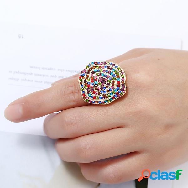 Anel de onda irregular exagerado na moda anel de dedo estereoscópico geométrico strass