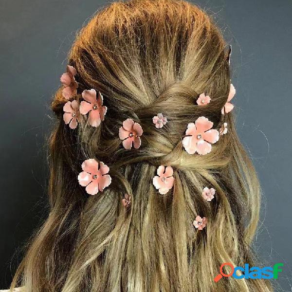 Flor banhado a ouro do vintage cabelo clipe estereoscópico flor strass cabelopin cabelo acessórios