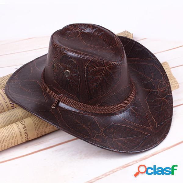 Homens mulheres couro artificial ocidental cowboy knight chapéu exterior de aba larga chapéu - vermelho