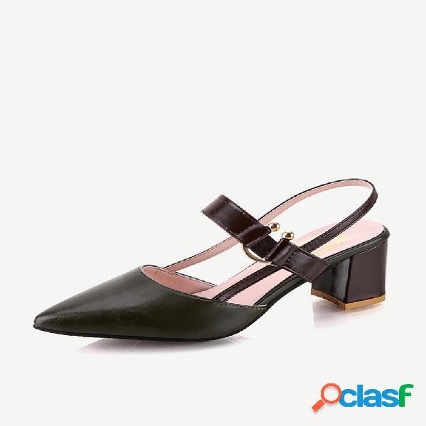Nova palavra pontiaguda com fivela sapatos simples femininos grossos com sandálias baotou com fivela sapatos de tamanho grande