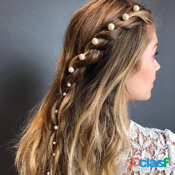 Pérola banhado a ouro do vintage cabelo clipe conjunto de metal cabelopin cabelo acessórios para mulheres