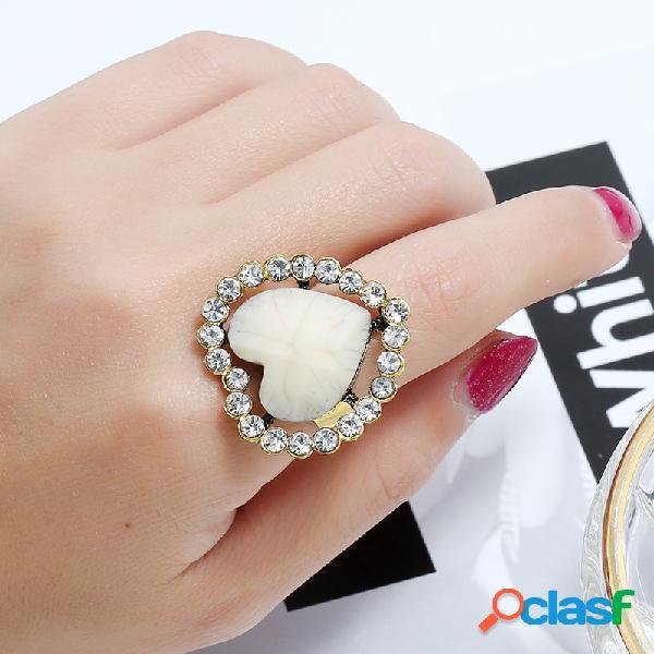 Vintage geométrica pêssego estereoscópico coração anel de metal oco strass anel de dedo aberto
