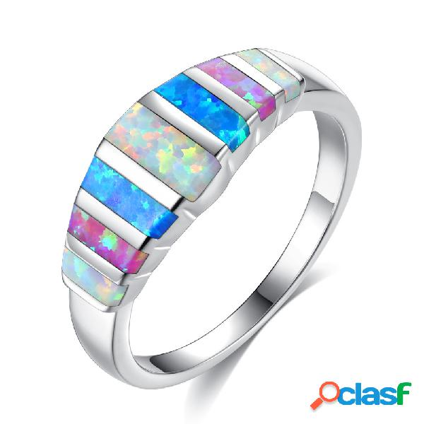 Moda colorido opala anéis de dedo clássico cor prata anéis de casamento jóias casuais para as mulheres