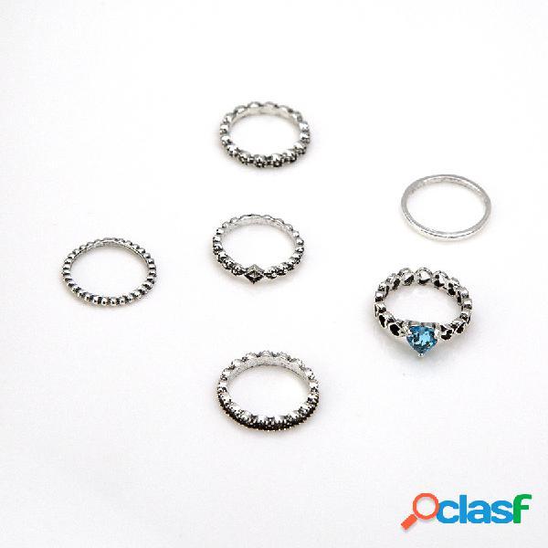 6 pçs / set vintage antigo prata coração forma geometria anel de dedo para as mulheres anel de strass knuckle