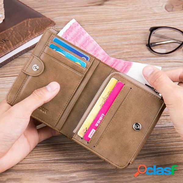 Couro genuíno multi-funcional 13 card slots moeda bolso carteira dobrável para homens