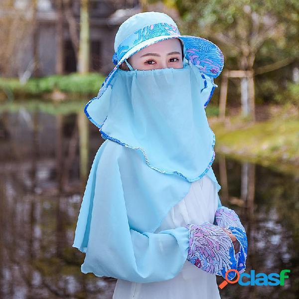 Feminino xale máscara chapéu removível terno fina respirável larga aba proteção ao ar livre do sol chapéu