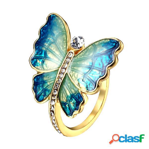 Étnico elegante esmalte borboleta anéis de dedo anéis de diamante inseto vintage para as mulheres