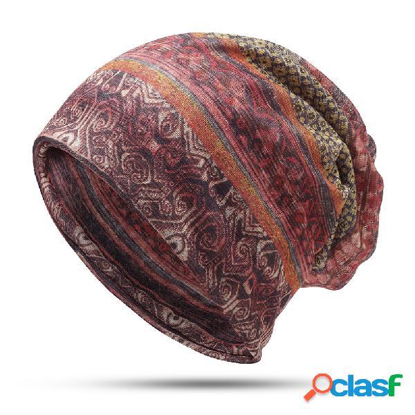Touca gorro feminino de estilo étnico turbante da moda vintage de uso duplo