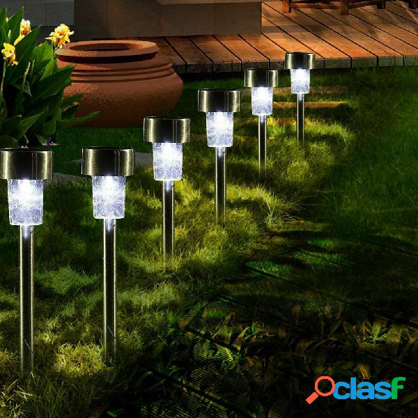 16pcs led lâmpadas de gramado de aço inoxidável solar jardim luz de caminho de paisagem ao ar livre