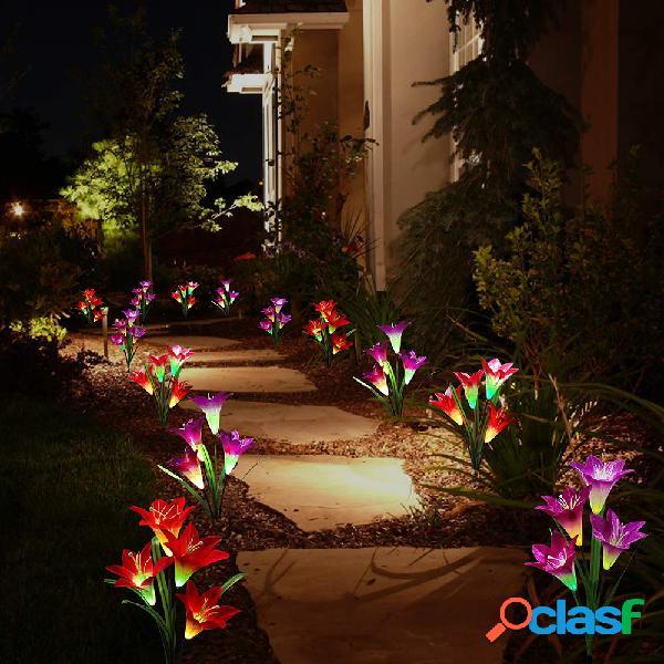 2 unidades 4led de energia solar lírio lâmpada de estaca de flores multicoloridas lâmpadas de jardim externo à prova d'água de mudança