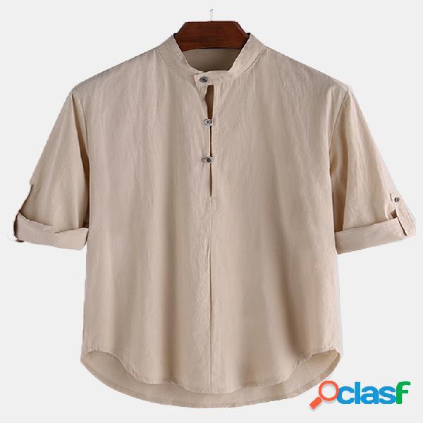 Algodão masculino cor sólida manga comprida henley camisa