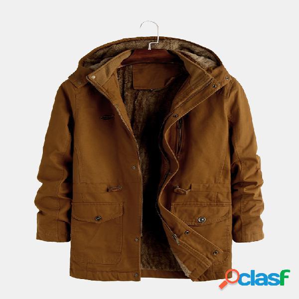 Mens algodão liso cor sólida velo de pelúcia multi bolsos hoodies jaquetas