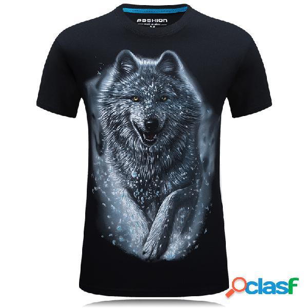 Padrão t-shirt snow wolf de mangas curtas dos homens tamanho grande camiseta masculina de mangas curtas t-shirt