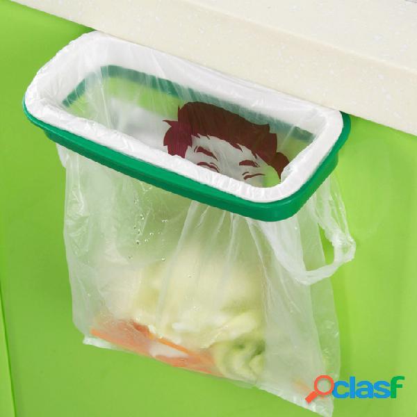 Porta de cozinha de suspensão armário traseiro lixo bolsa suporte com fivela anti-drop bolsa rack de armazenamento