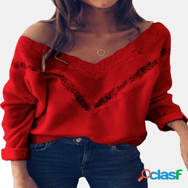 Camisola de manga comprida de retalhos de cor sólida para mulheres