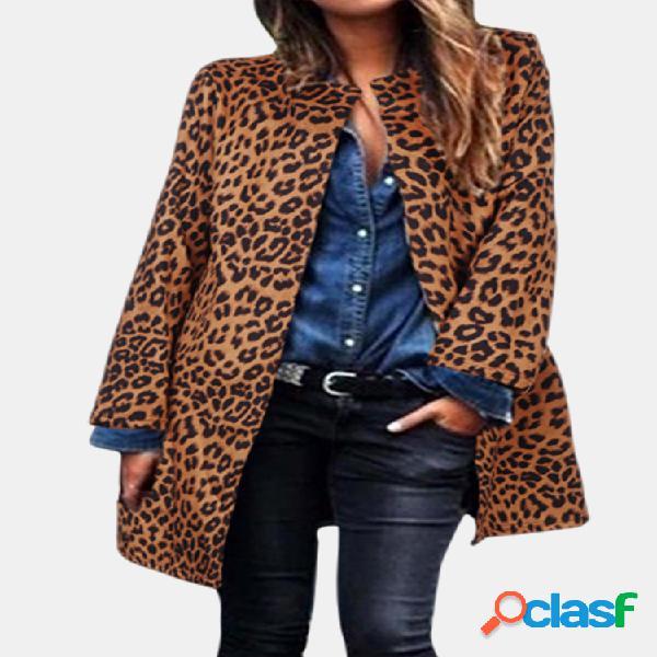 Casaco com estampa de leopardo manga comprida casual plus