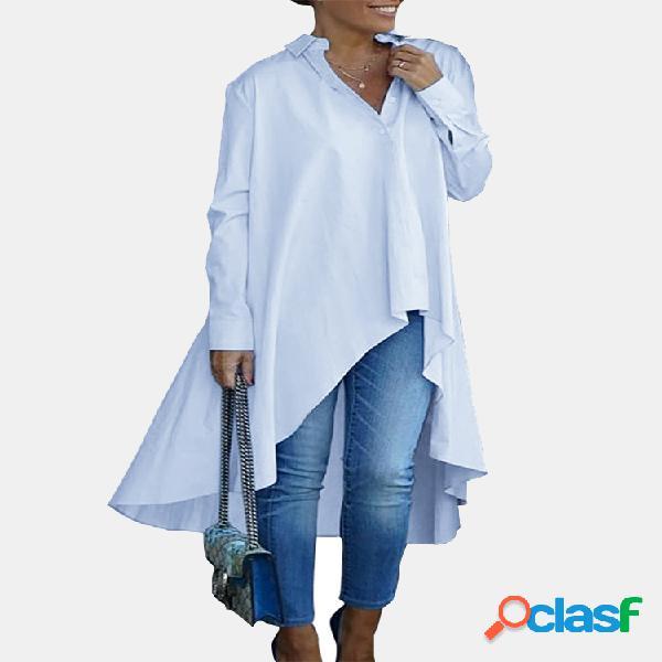 Solid color loose irregular manga longa camisa para mulheres