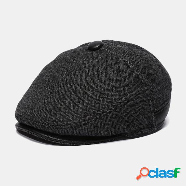 Beret de lã para homem caps plus velvet thick orelha protection forward chapéu