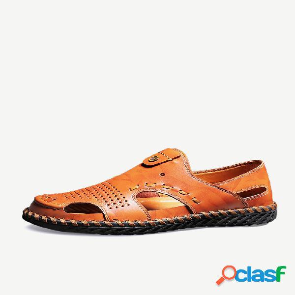 Sandálias de couro com costura masculina fechada com costura à mão