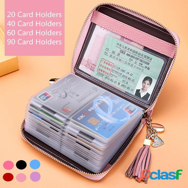 Mulheres couro genuíno negócios zipper 90 slots de cartão suporte de carteira carteira mini bolsa