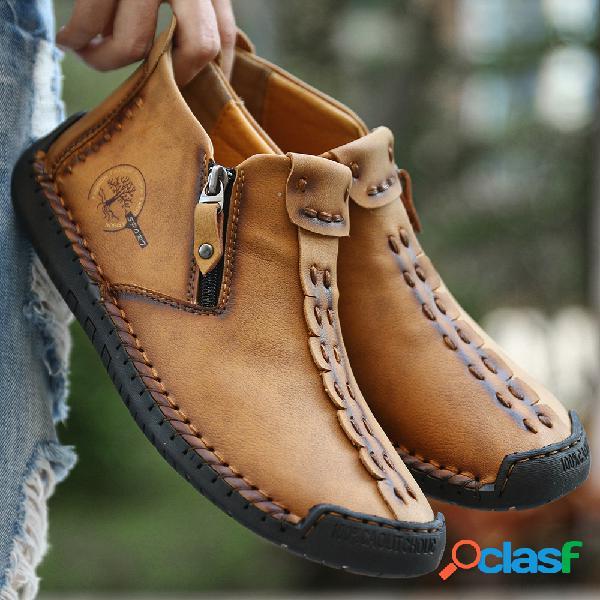 Botas casuais masculinas com costura à mão de couro antiderrapante com zíper lateral