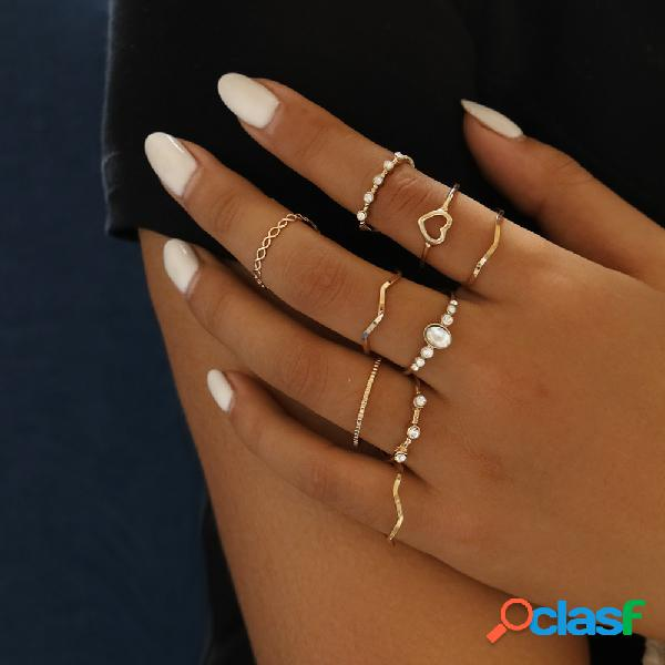 Conjunto de anéis vintage geométrico oco pêssego coração anel de metal ondulado com strass