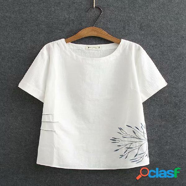 Blusa bordada com decote em o plus