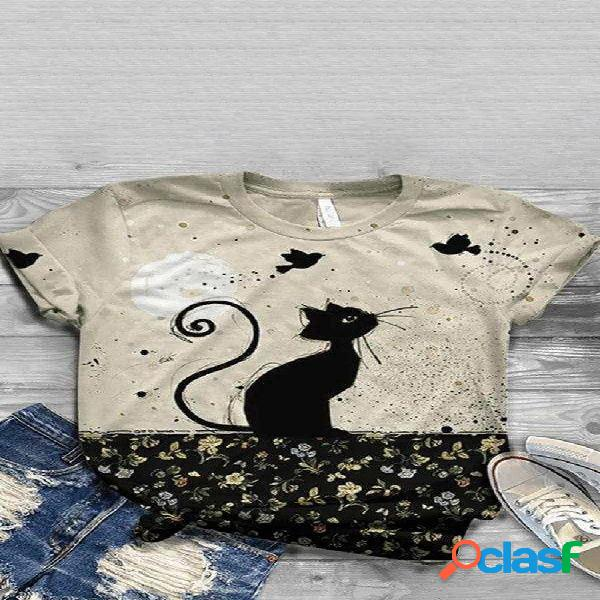 Cartoon cat com estampa floral de manga curta com decote em o