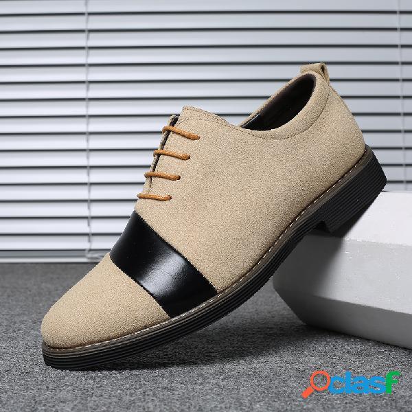 Homens camurça emenda elegante toe oxfords lace up casual sapatos formais