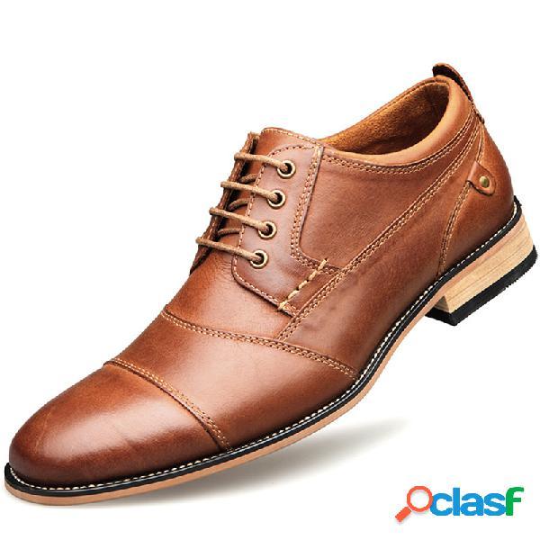 Homens elegante cap toe costura antiderrapante lace up casual sapatos formais