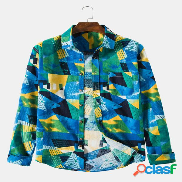 Mens hit color print respirável turn down collar manga comprida camisas