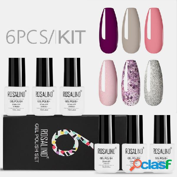 6 pcs gel unhas conjunto de polonês cor sólida unhas kit para manicure vernis semi permanente 7 ml gel kit top e base tudo para manicure