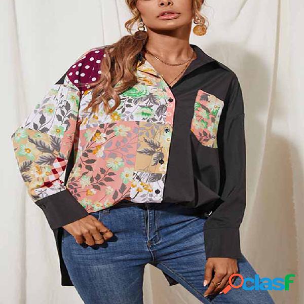 Blusa de patchwork com estampa floral de manga comprida com gola para baixo