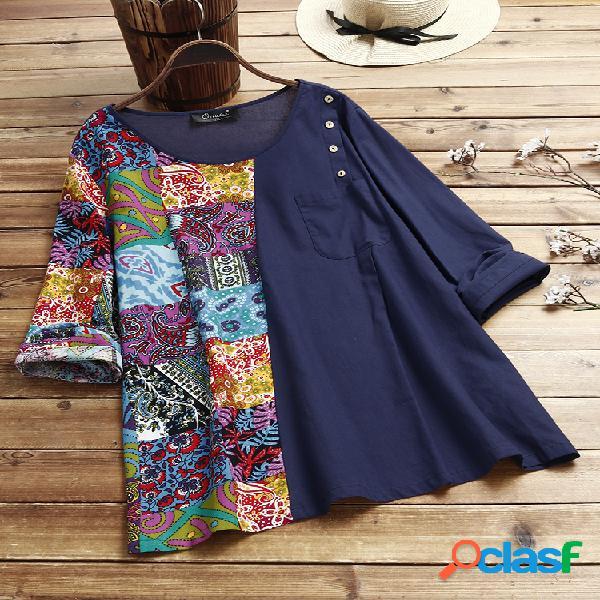 Blusa vintage étnica estampada patchwork tamanho plus tamanho