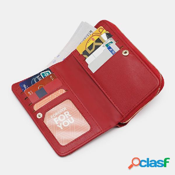 Bolsa feminina de couro pu 8 slots para cartão com foto telefone bolsa money clip wallet wallet