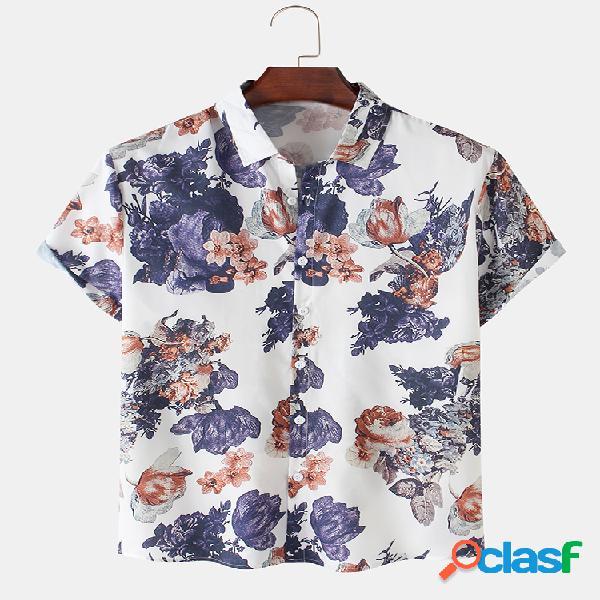 Camisas de manga curta casual masculina com impressão floral de algodão