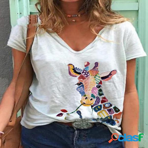 Camiseta feminina de manga curta estampada girafa com decote em o
