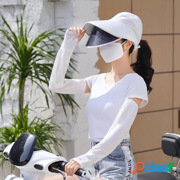 Mulheres quatro peças uv proteção exterior gelo seda manga respirável capa rosto máscara protetor solar chapéu com anti-reflexo destacável