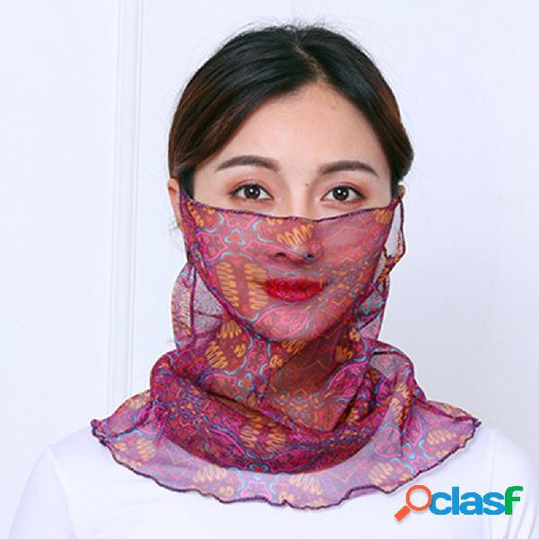 Mulheres rosto fino respirável máscara véu de equitação aberto sombra protetor solar triângulo lenço de seda pescoço máscara