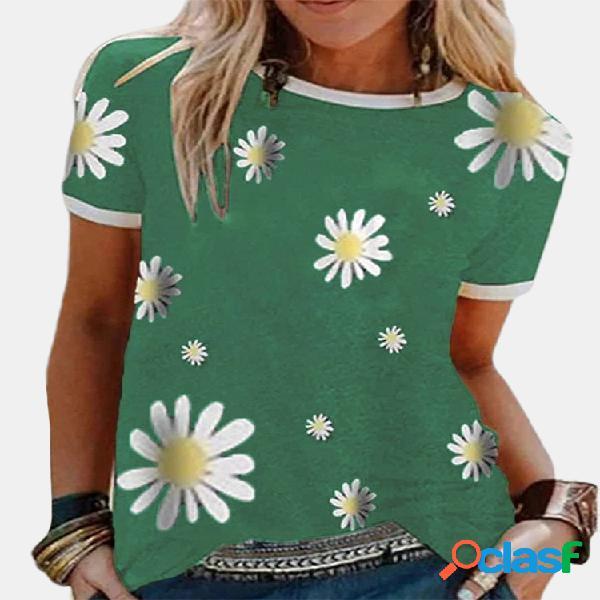 T-shirt casual patchwork daisy com estampa floral de manga curta para mulheres