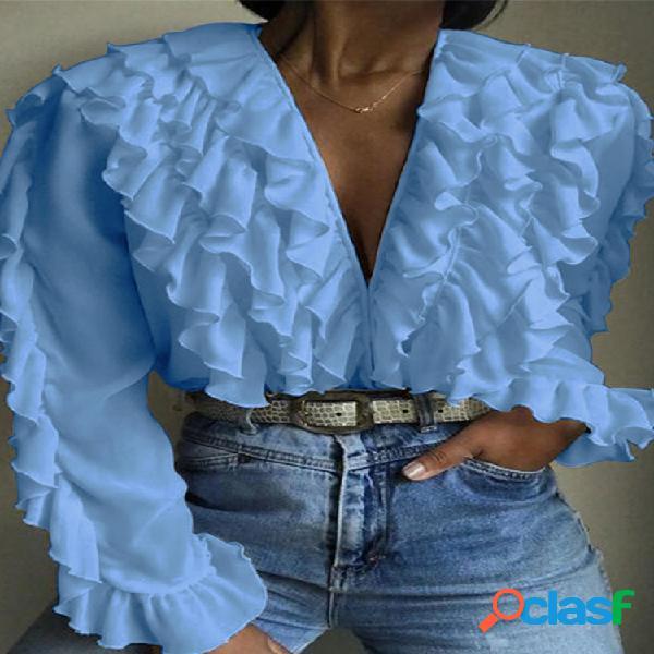 Blusa casual com decote em v franzido, manga comprida plus tamanho