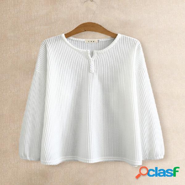 Blusa casual com pesponto grosso com gola em o e manga comprida plus tamanho
