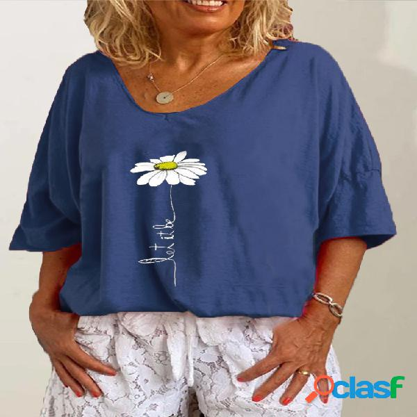 Blusa casual flor estampa manga curta tamanho plus