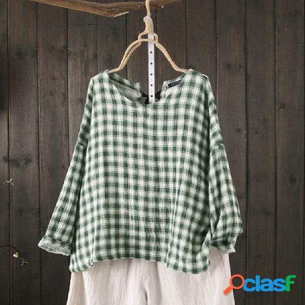 Blusa casual xadrez de manga comprida tamanho plus