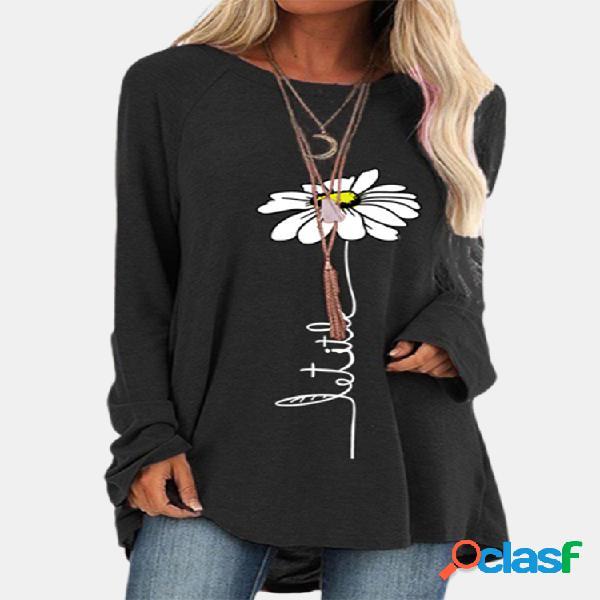 Blusa feminina de manga comprida com decote em o com estampa floral