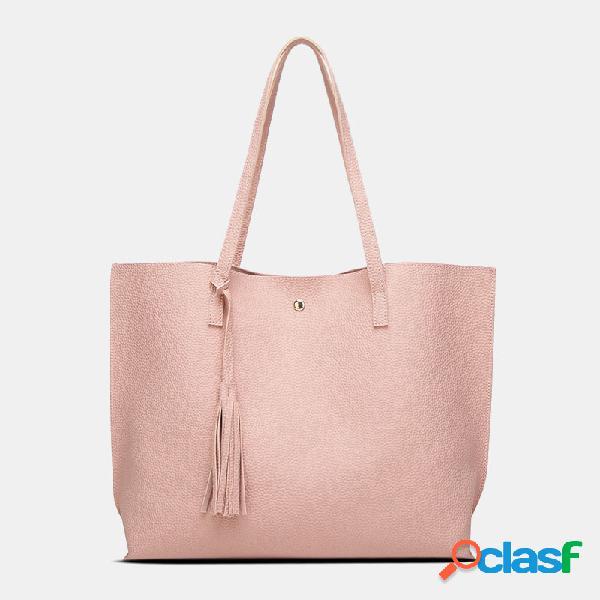 Bolsa feminina de couro pu padrão grande capacidade casual borla sólida bolsa de ombro bolsa