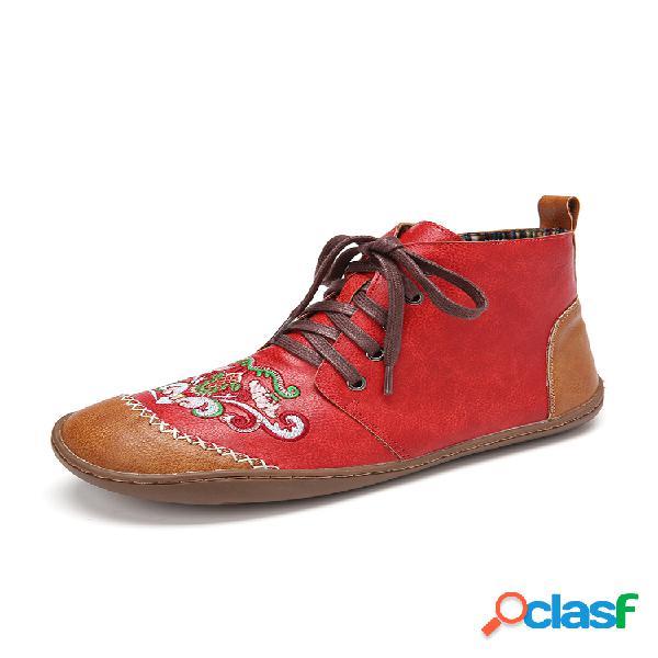 Botas para tornozelo lostisy women soft bordados tribais de couro com costura à mão