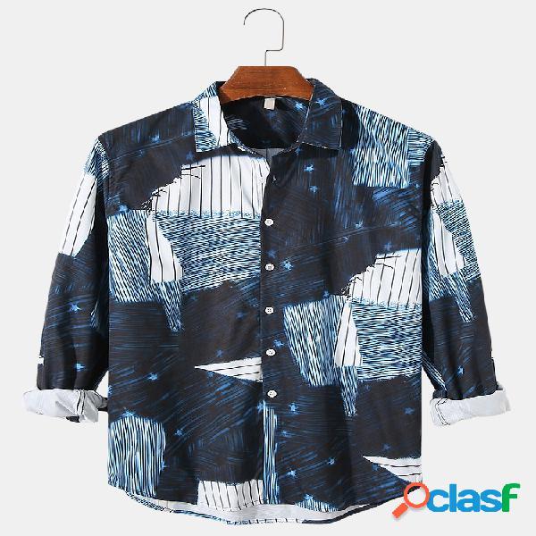 Camisetas masculinas colorblock e estampa listrada de lapela com botões casuais de manga comprida