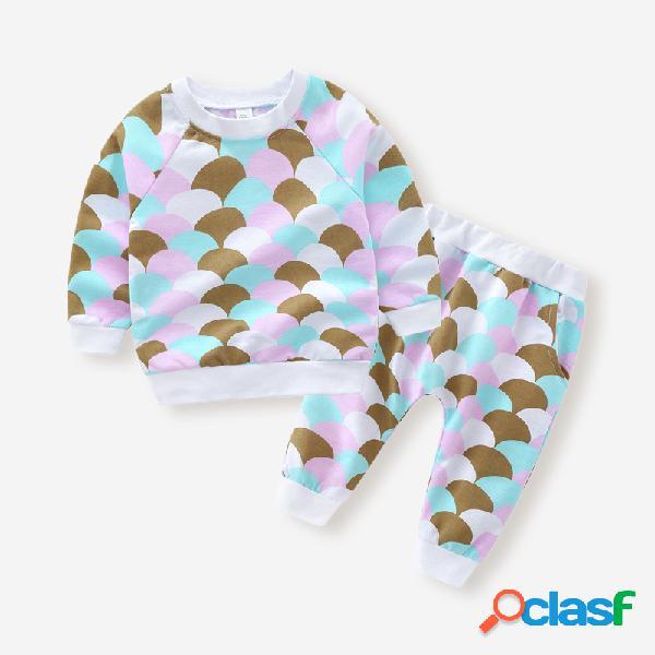 Conjunto de roupas casuais de manga comprida infantil para 1-7 anos